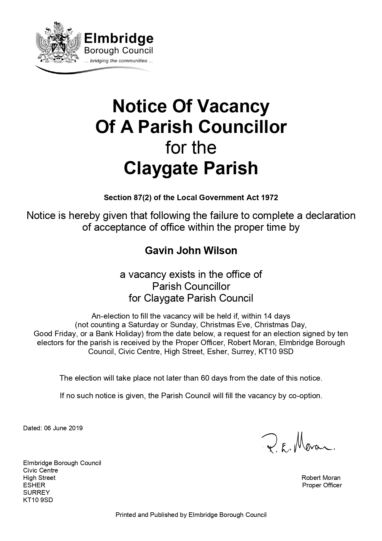 Notice of Vacancy - click to download pdf version