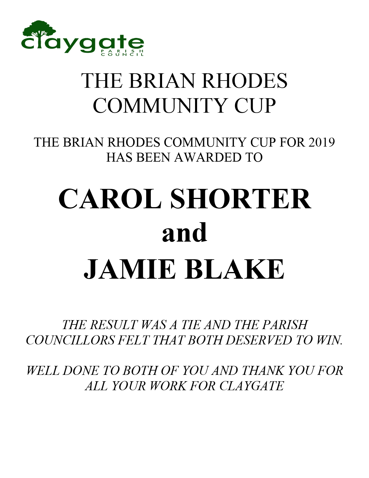Poster of winners for Brian Rhodes Community cup - click to download pdf